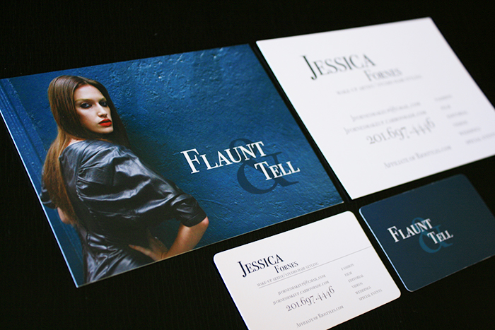 Flaunt tell makeup artist business card and postcard design jessica fornes came to us as a new client wanting to update the look of her business along with the custom makeup artist business cards jessica also reheart Images