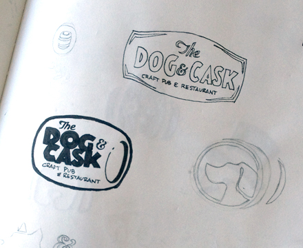 The Dog & Cask Logo Sketches