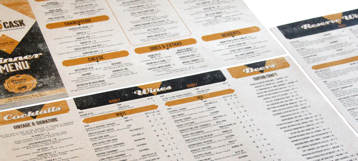 The Dog & Cask Menus
