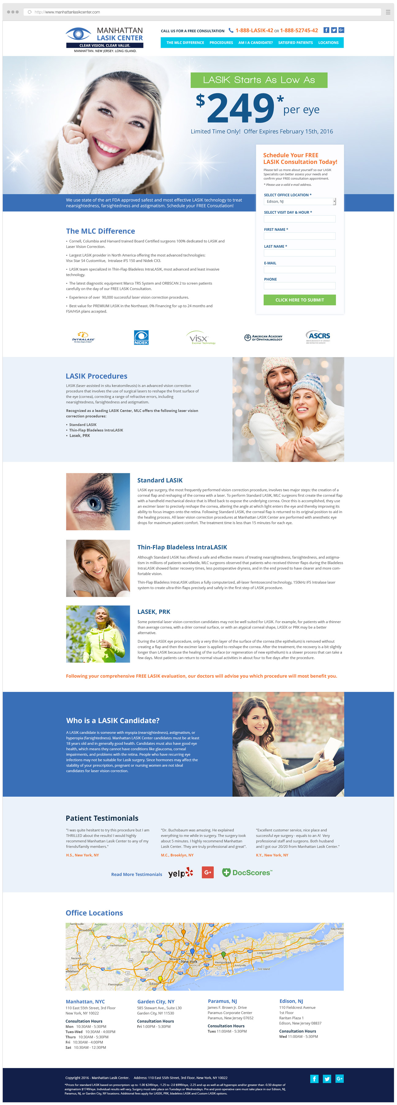Manhattan Lasik Center Landing Page
