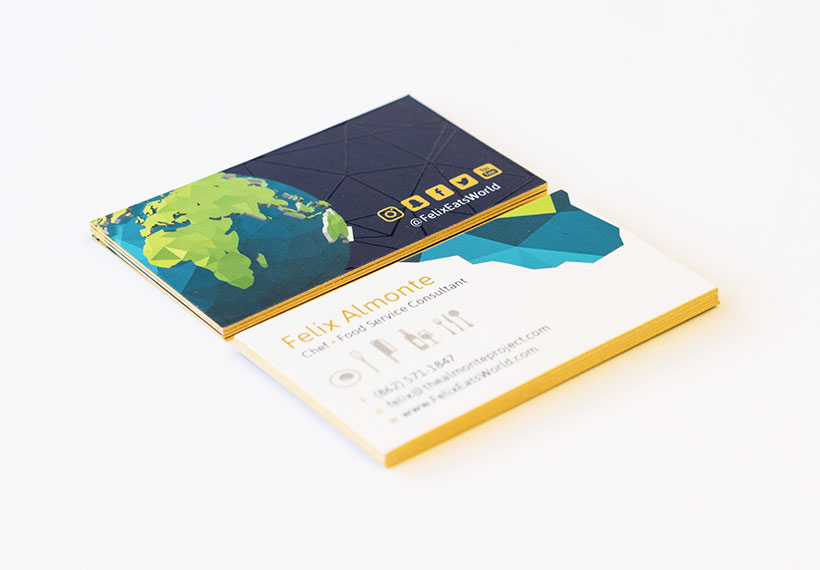 Felix-Almonte-Gold-Painted-Business-Cards